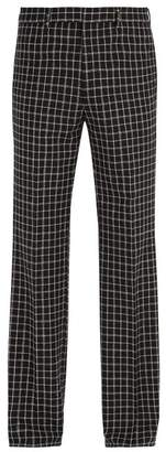 Givenchy Checked Wool Blend Trousers - Mens - Black White