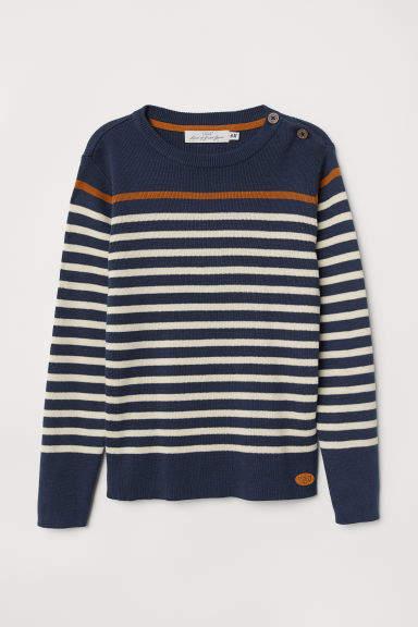 H&M - Fine-knit Cotton Sweater - Blue