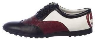 Gucci Snakeskin-Trimmed Wingtip Sneakers