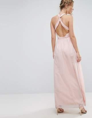 Little Mistress High Neck Maxi Dress with Open Back