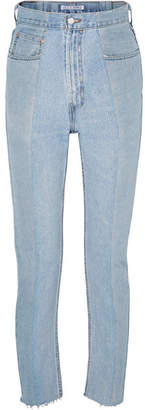 E.L.V. Denim - The Twin Two-tone High-rise Straight-leg Jeans - Blue