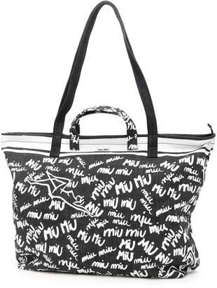 Miu Miu (ミュウミュウ) - Miu Miu Printed Denim Shopping Bag