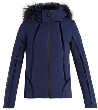 Fendi Roma Logo Embroidered Ski Jacket - Womens - Navy