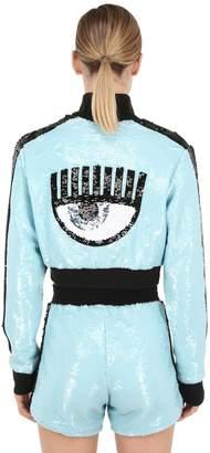 Chiara Ferragni Cropped Sequined Zip-up Sweatshirt