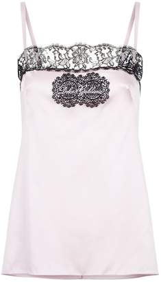 Dolce & Gabbana Lace Trim Embroidered Satin Camisole