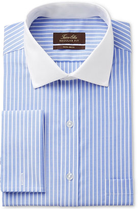 Tasso Elba Men's Classic/Regular Fit Non-Iron Blue Twill Bar Stripe French Cuff Dress Shirt with Contrast Collar, Only at Macy's $69.50 thestylecure.com