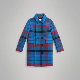 Burberry Childrens Check Wool Tailored Coat