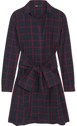 Maje - Checked Cotton-flannel Shirt Dress - Navy $250 thestylecure.com