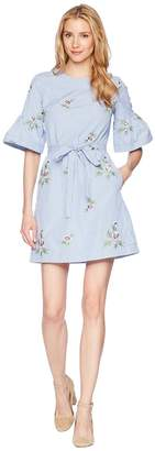 Donna Morgan Embroidered Cotton Dress with Short Bell Sleeve and Self Tie Belt Women's Dress