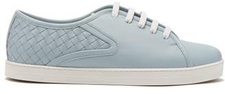 Bottega Veneta Intrecciato Low Top Leather Trainers - Womens - Light Blue