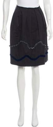 Miu Miu Velvet-Accented Pleated Skirt