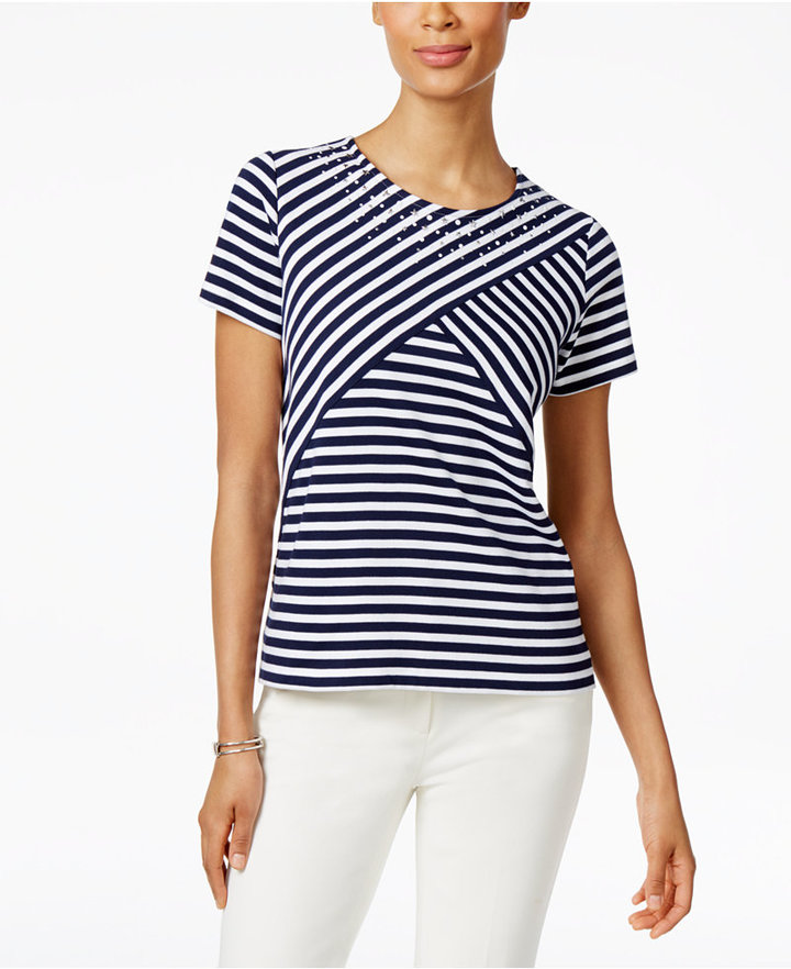 Alfred dunner petite lady liberty embellished striped top for Alfred dunner wedding dresses