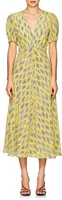 Saloni Women's Lea Algae-Print Silk Midi-Dress