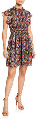 Shoshanna Amora Floral-Print Cap-Sleeve Ruffle Mini Dress