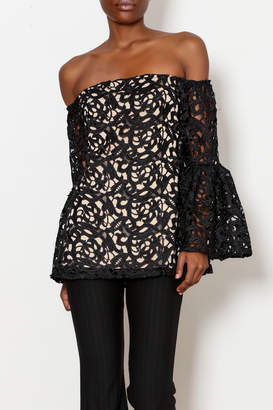 Julian Chang Lace Lined Off the Shoulder Top