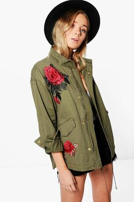 boohoo Elizabeth Boutique Rose Embroidered Military Jacket $72 thestylecure.com