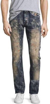 PRPS Demon Erosion Paint Splatter Slim Jeans, Indigo $228 thestylecure.com