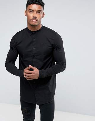 SikSilk Muscle Shirt In Black With Jersey Sleeves