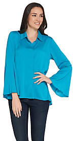 Joan Rivers Classics Collection Joan Rivers Tulip Sleeve Button Front Blouse