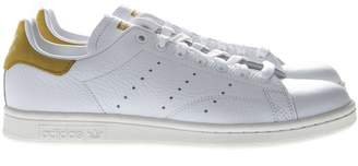 adidas Stan Smith White Leather And Gold Suede Sneakers