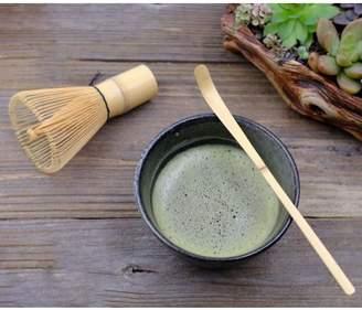 JuJu Smiling Matcha Whisk Set - Brush + Ceramic Bowl + Scoop / Japanese Green Tea Bamboo Preparing Tool 3 Piece Set