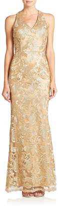 Laundry by Shelli Segal Women's PLATINUM Amulet Embroidered Mesh Floor-Length Gown