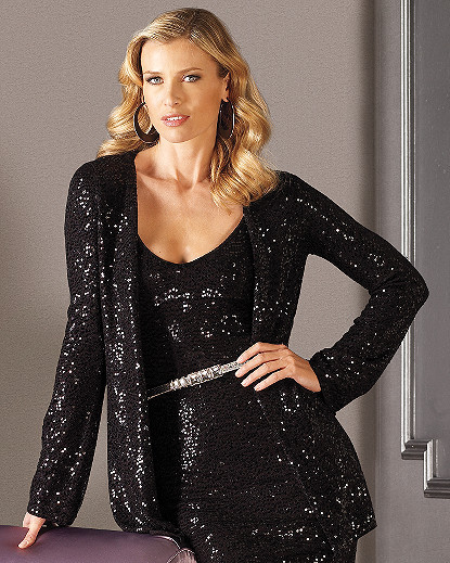 Signature Sequined Cashmere Collection: Tunic Cardigan