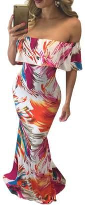 Suimiki Vintage Ruffle Plain Floral Printed Off Shoulder Bodycon Long Party Maxi Dress
