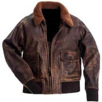Hollywood Jacket Aviator A-2 Distressed Real Leather Bomber Flight Jacket
