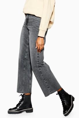 Topshop Womens Grey Raw Hem Crop Jeans - Grey