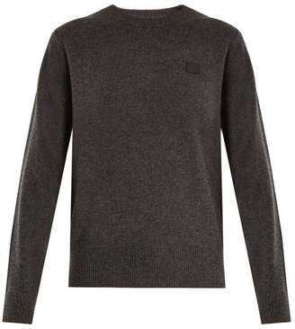 Acne Studios Nalon Face Wool Sweater - Womens - Dark Grey