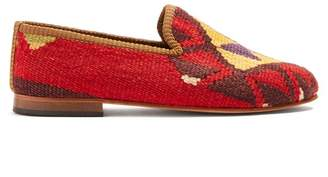 Artemis design shoes Artemis Design Shoes - Tribal Patterned Woven Kilim And Leather Loafers - Mens - Multi