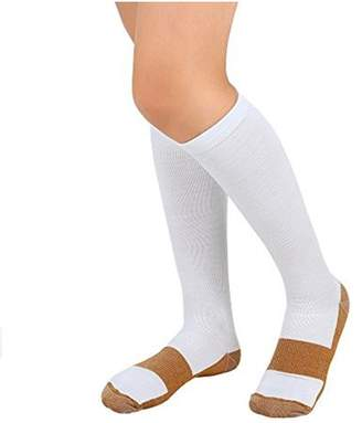 Tonewear Inc Graduated Knee High Closed Toe Unisex Compression Socks For Pain Relief -7 Pair (White Copper)
