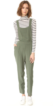 BB Dakota Kelly Crepe Overalls $105 thestylecure.com