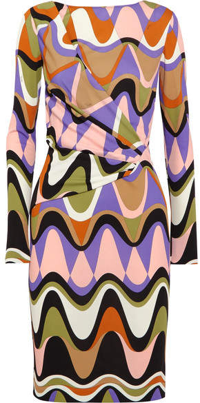 Emilio Pucci - Gathered Printed Jersey Dress - Purple
