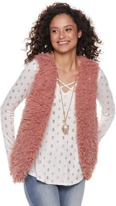 Juniors' Neon Soul Faux-Fur Vest Set