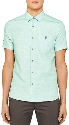 Ted Baker Peeze Two-Tone Linen Regular Fit Button-Down Shirt