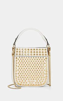 Prada Women's Margit Small Studded Leather Shoulder Bag - White