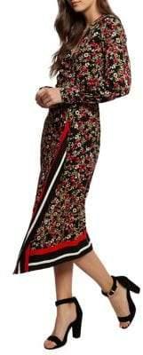 Dex Floral-Print Midi Wrap Dress