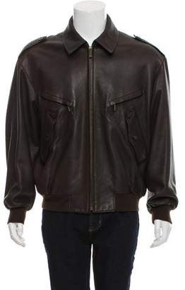 Hermes Leather Zip-Up Jacket