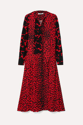 Givenchy Pussy-bow Pleated Printed Silk Crepe De Chine Dress - Red