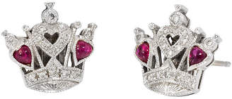 One Kings Lane Vintage Queen of Hearts Diamond Ruby Earrings - Precious & Rare Pieces