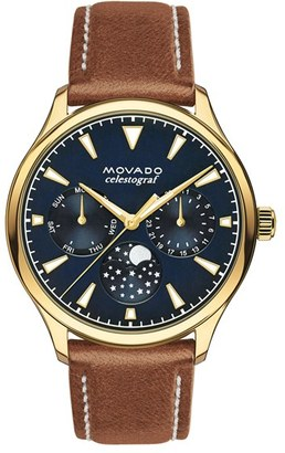 Women's Movado 'Heritage' Multifunction Leather Strap Watch, 36Mm $695 thestylecure.com