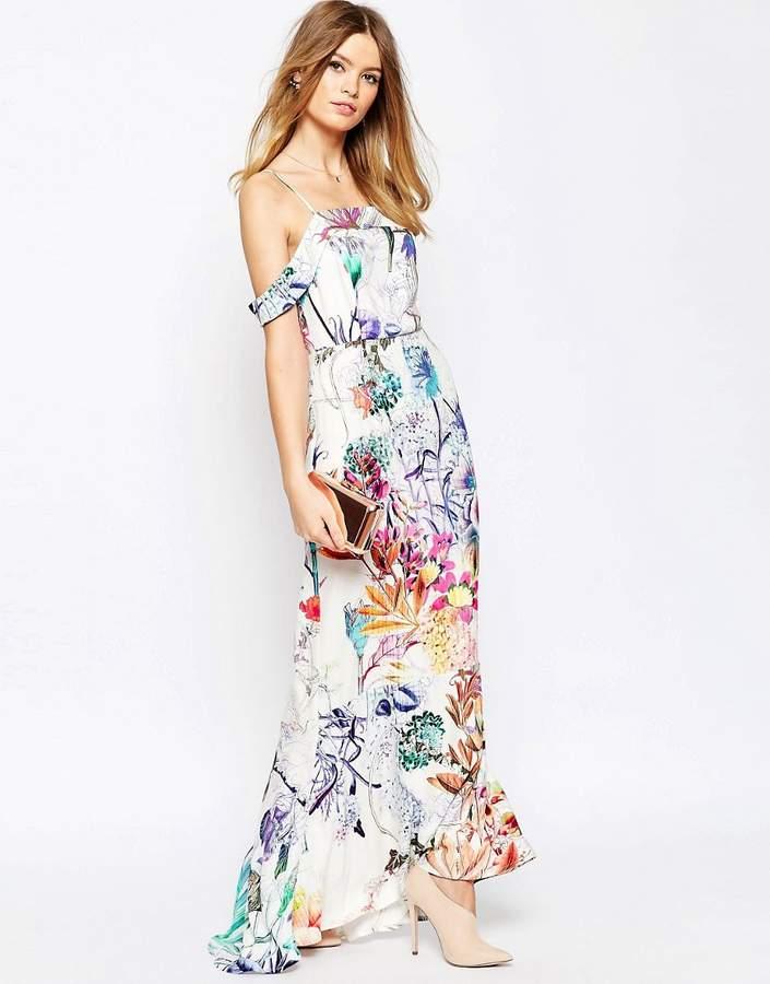 AsosASOS WEDDING Bardot Fishtail Maxi In Floral Print