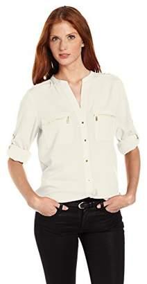 Calvin Klein Women's Modern Essential Zipper Button-Front Blouse