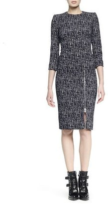 Alexander McQueen Zip-Hem Printed Sheath Dress $2,085 thestylecure.com