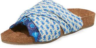 Figue Suki Patterned Silk Cork Flat Slide Sandal