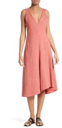 Women's Theory Tadayon Stretch Linen Blend Midi Dress $345 thestylecure.com