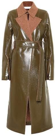 Vinyl and wool coat