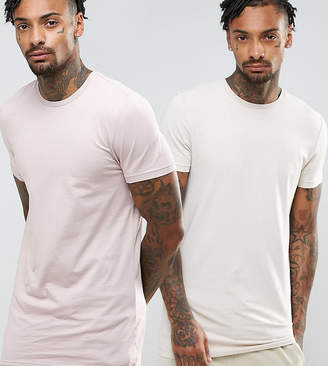 Asos DESIGN muscle fit longline t-shirt 2 pack